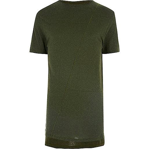 Dunkelgrünes, langes T-Shirt