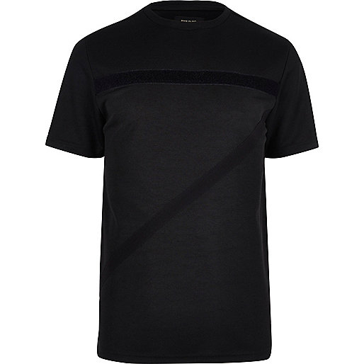 T-shirt noir à bandes texturées