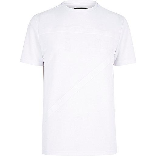 T-shirt blanc à bandes texturées