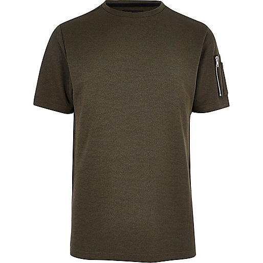 Khaki zip sleeve T-shirt