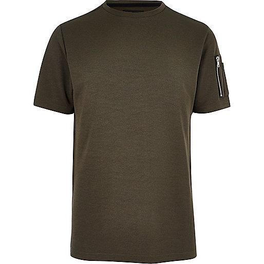 Khaki zip sleeve T-shirt