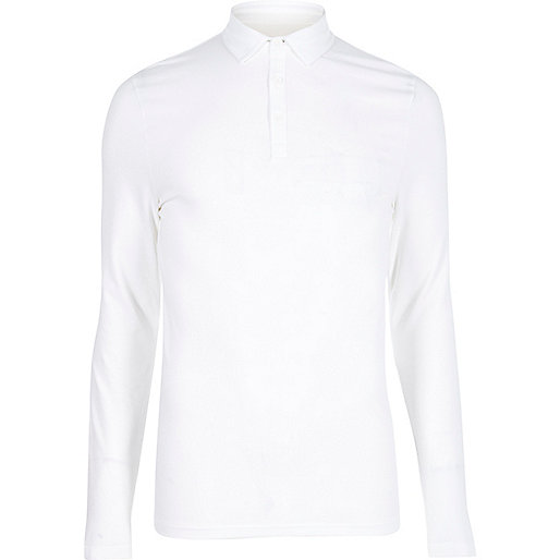 White muscle fit polo top