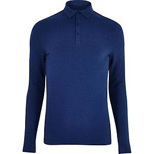 Marineblaues Polohemd im Muscle-Fit