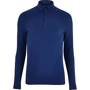 Navy muscle fit polo top