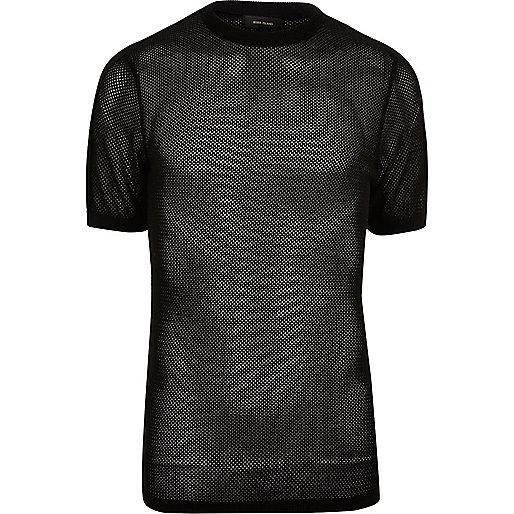 Black mesh cotton t-shirt