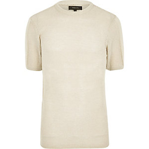 Stone mesh cotton t-shirt