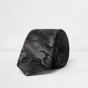 Black camo silk tie
