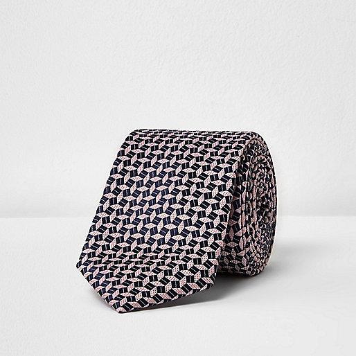 Cravate soyeuse à imprimé géométrique rose