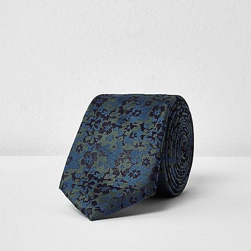 Khaki green floral print tie