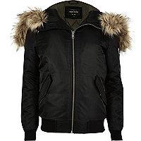 Black faux fur hooded bomber jacket