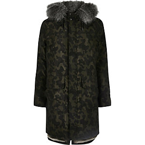 Camo faux fur trim hooded longline parka