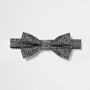 Silver geo print bow tie