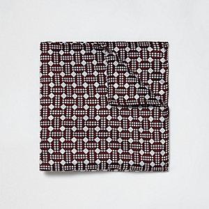 Red geo print pocket square