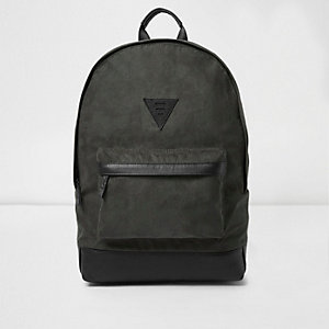Khaki green faux suede backpack
