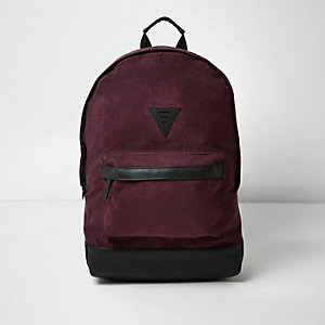 Red faux suede backpack
