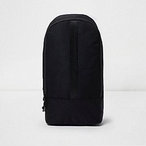 Sac à dos noir texturé à bretelle unique