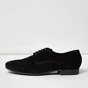 Black smart suede derby shoes