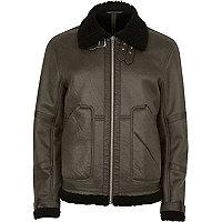 Green cracked borg lined aviator jacket