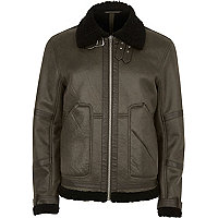 Green cracked fleece lined aviator jacket