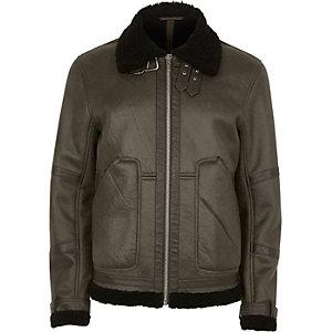 Green cracked fleece lined aviator jacket