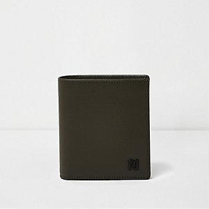 Khaki green leather foldout wallet