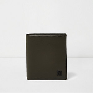 Khaki green leather foldout wallet