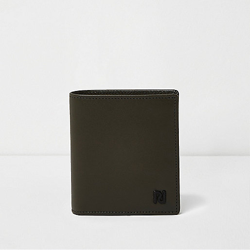 Portefeuille en cuir vert kaki à rabat