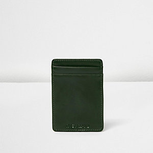 Green leather wallet cardholder