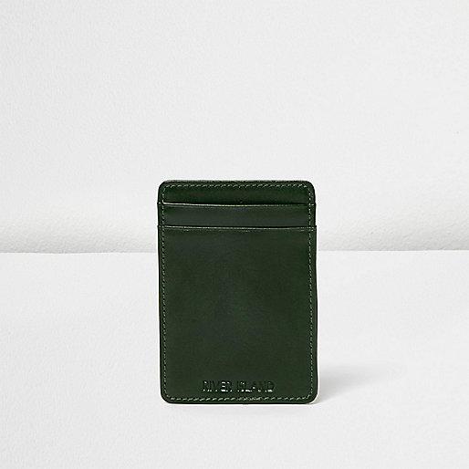 Green leather wallet cardholder