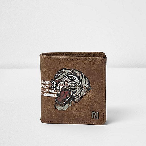 Portefeuille marron clair imprimé tigre à rabat