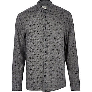 Black geo print long sleeve shirt