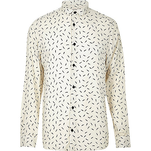 Cream feather print casual shirt