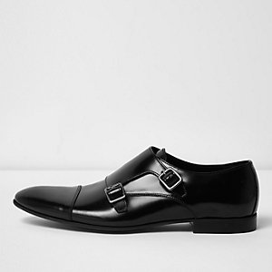 Black patent leather monk strap shoes