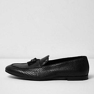 Black lizard leather tassel loafers