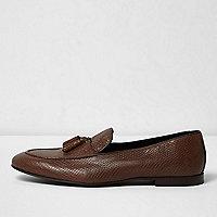 Brown lizard leather tassel loafers