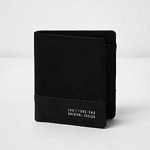Black nylon mesh block fold out wallet