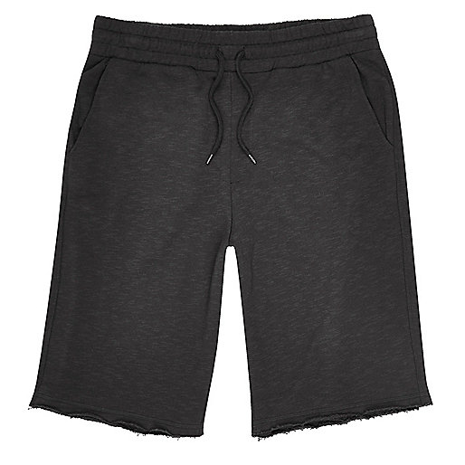 Grey slub cotton shorts