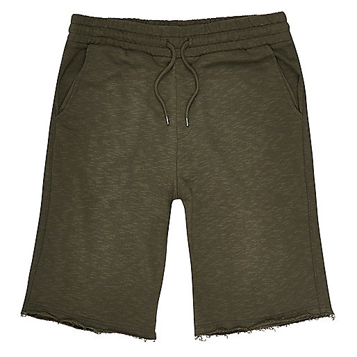 Dark green slub cotton shorts