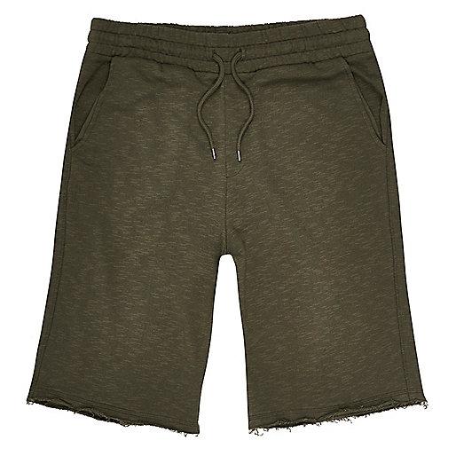Dark green slub cotton shorts