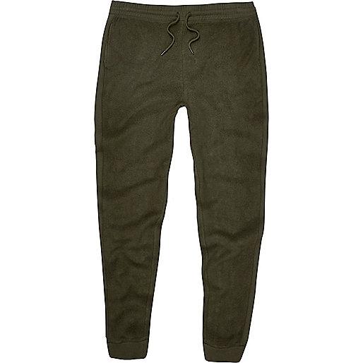 Dark green fleece joggers