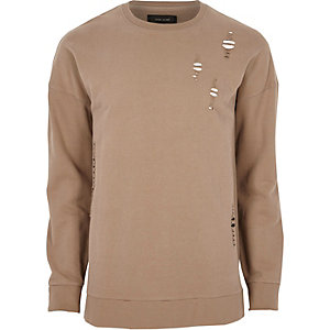Light brown distressed sweatshirt