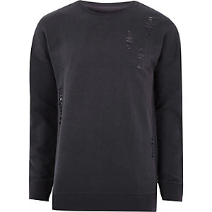 Schwarzes Sweatshirt im Used-Look