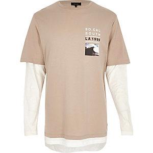 T-shirt grège double épaisseur