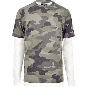 T-shirt camouflage vert double épaisseur