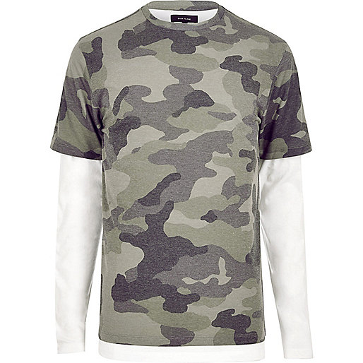 Green camo double layer T-shirt