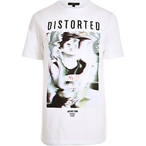 White longline glitch print T-shirt