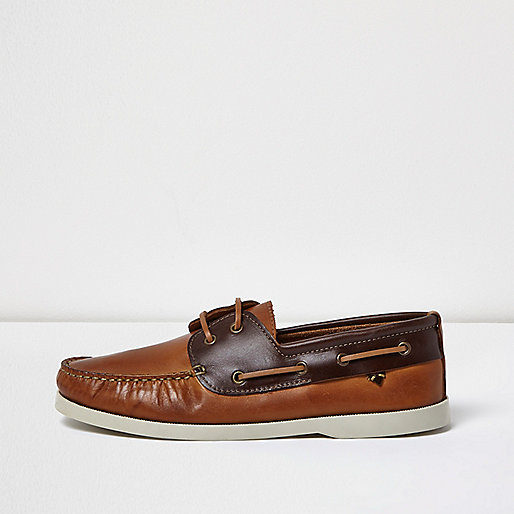 Brown dual color leather boat shoes