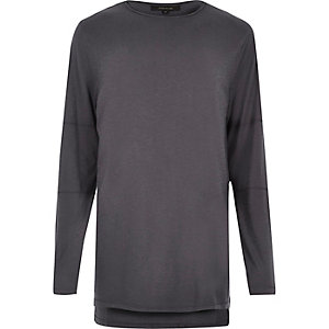 Dark blue longline long sleeve T-shirt