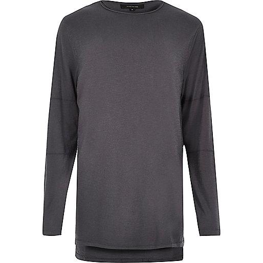 Dark blue longline long sleeve T-shirt
