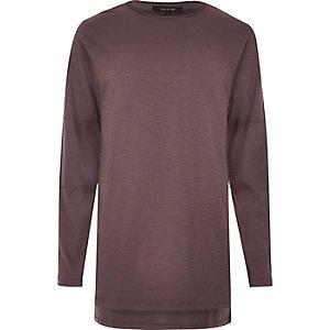T-shirt long violet à manches longues